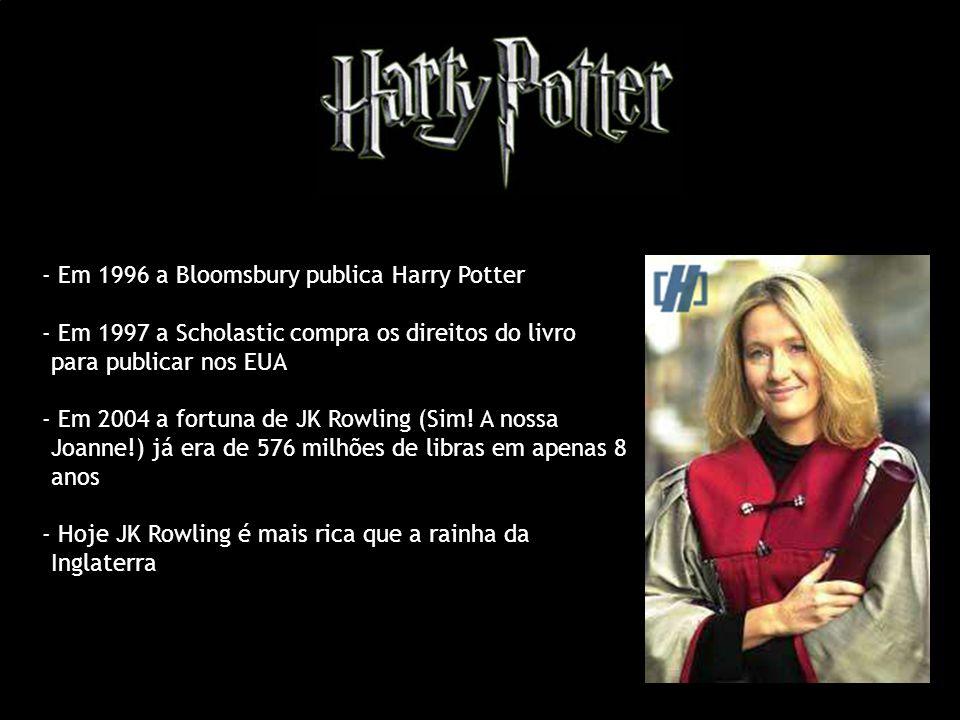 - Em 1996 a Bloomsbury publica Harry Potter - Em 1997 a Scholastic compra os direitos do livro para publicar nos EUA - Em 2004 a fortuna de JK Rowling