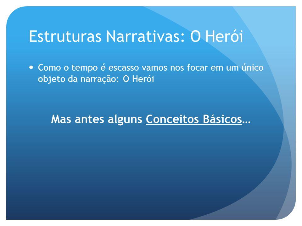 Estruturas Narrativas: O Herói Como o tempo é escasso vamos nos focar em um único objeto da narração: O Herói Mas antes alguns Conceitos Básicos…