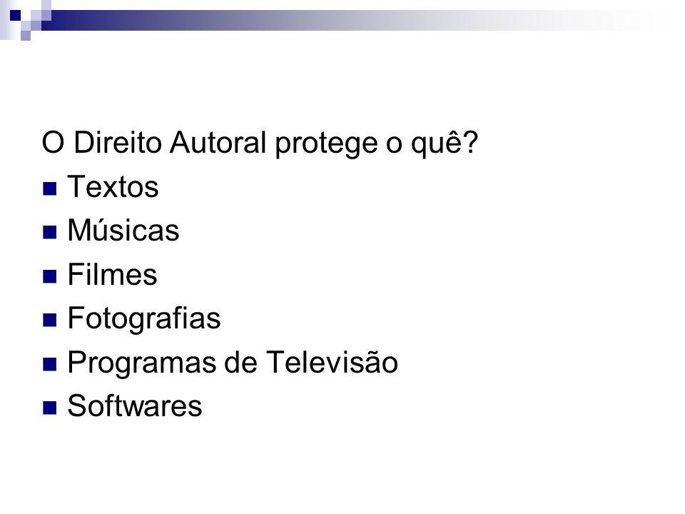 O Direito Autoral protege o quê? Textos Músicas Filmes Fotografias Programas de Televisão Softwares
