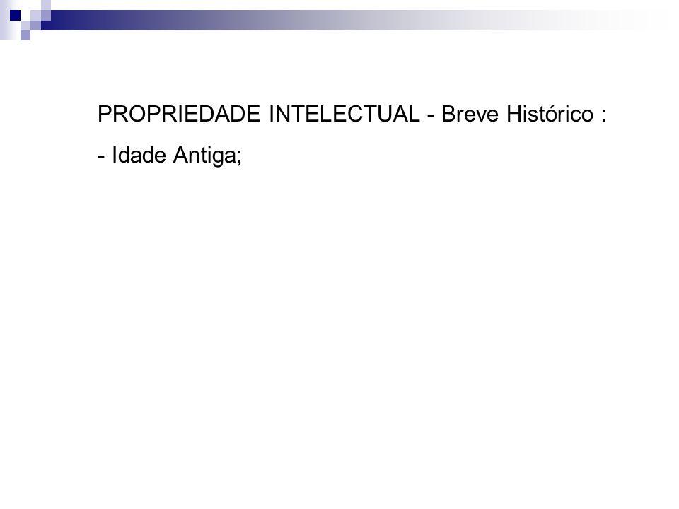 PROPRIEDADE INTELECTUAL - Breve Histórico : - Idade Antiga;