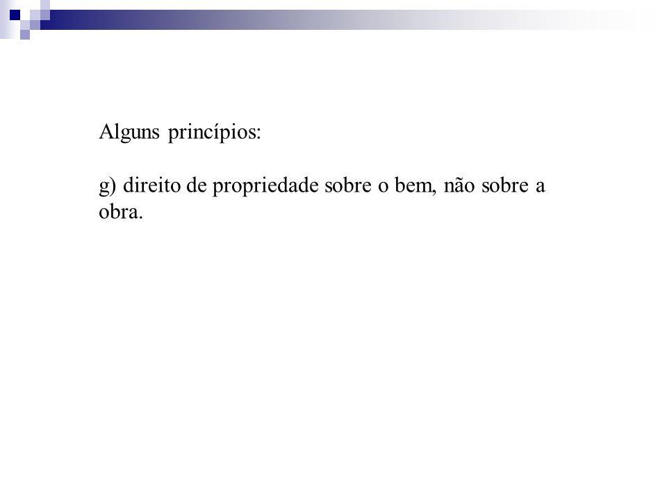 Alguns princípios: g) direito de propriedade sobre o bem, não sobre a obra.