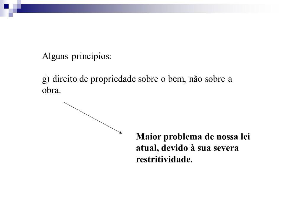 Alguns princípios: g) direito de propriedade sobre o bem, não sobre a obra. Maior problema de nossa lei atual, devido à sua severa restritividade.