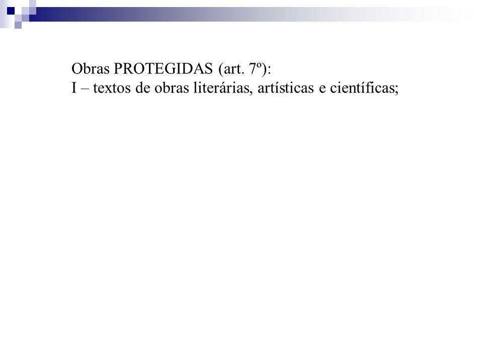 Obras PROTEGIDAS (art. 7º): I – textos de obras literárias, artísticas e científicas;
