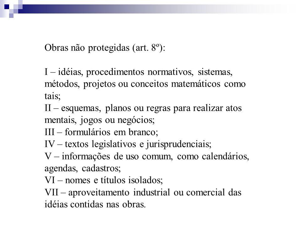 Obras não protegidas (art. 8º): I – idéias, procedimentos normativos, sistemas, métodos, projetos ou conceitos matemáticos como tais; II – esquemas, p