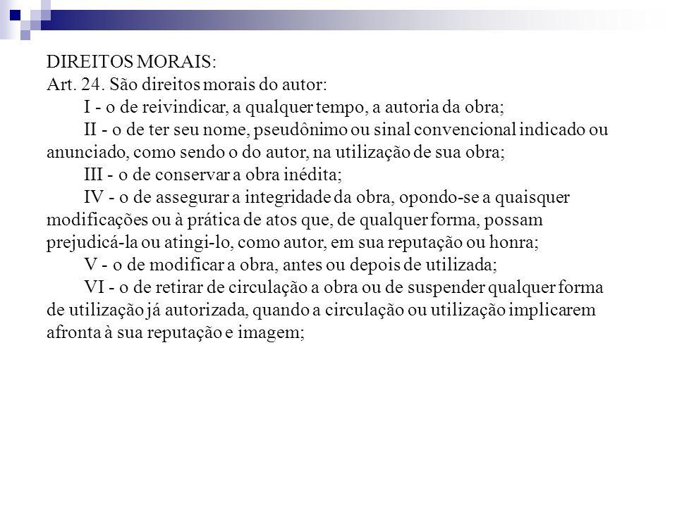 DIREITOS MORAIS: Art. 24. São direitos morais do autor: I - o de reivindicar, a qualquer tempo, a autoria da obra; II - o de ter seu nome, pseudônimo
