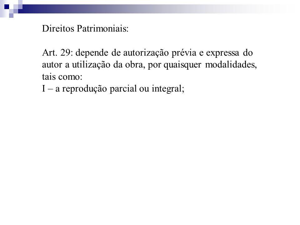 Direitos Patrimoniais: Art. 29: depende de autorização prévia e expressa do autor a utilização da obra, por quaisquer modalidades, tais como: I – a re