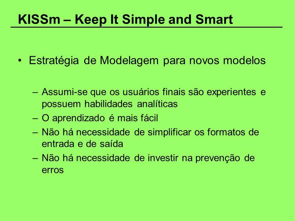 KISSm – Keep It Simple and Smart Estratégia de Modelagem para novos modelos –Assumi-se que os usuários finais são experientes e possuem habilidades an