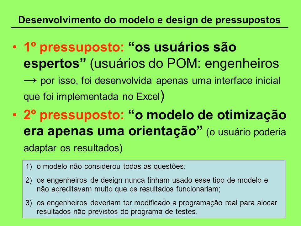 Desenvolvimento do modelo e design de pressupostos 1º pressuposto: os usuários são espertos (usuários do POM: engenheiros por isso, foi desenvolvida a