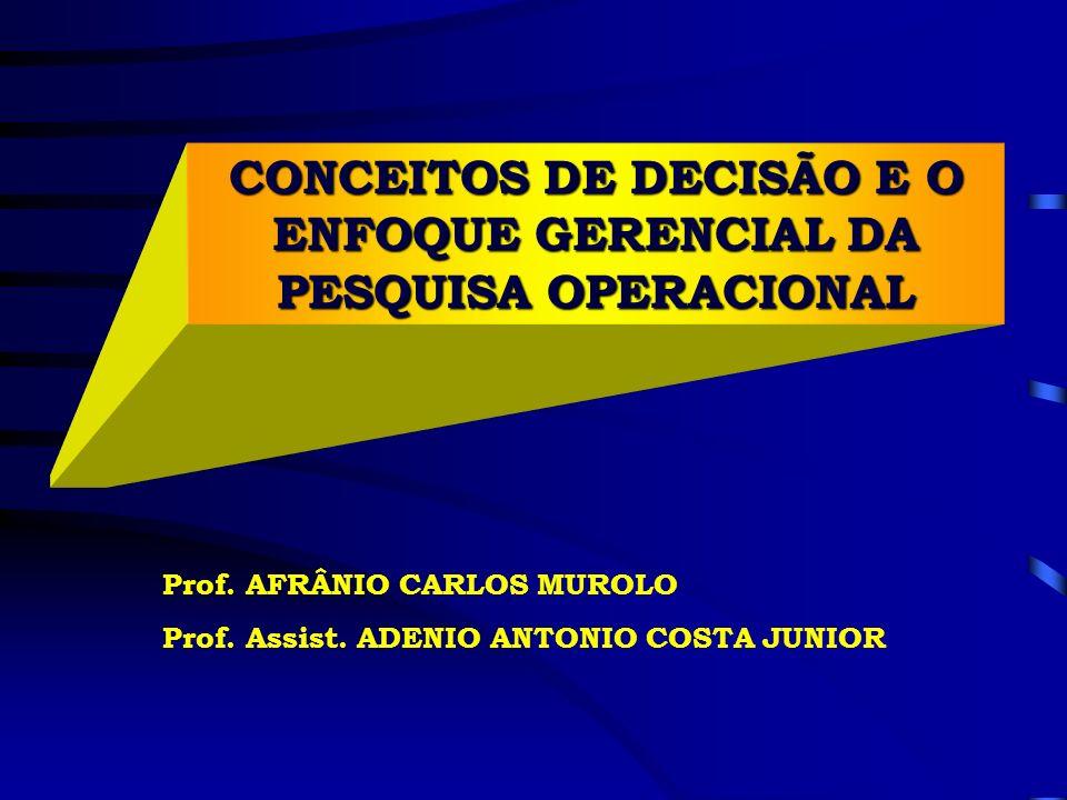 CONCEITOS DE DECISÃO E O ENFOQUE GERENCIAL DA PESQUISA OPERACIONAL Prof. AFRÂNIO CARLOS MUROLO Prof. Assist. ADENIO ANTONIO COSTA JUNIOR