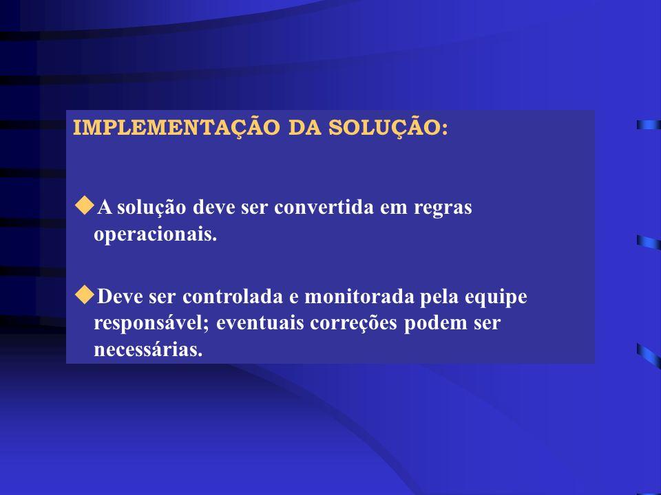 IMPLEMENTAÇÃO DA SOLUÇÃO: u A solução deve ser convertida em regras operacionais. u Deve ser controlada e monitorada pela equipe responsável; eventuai