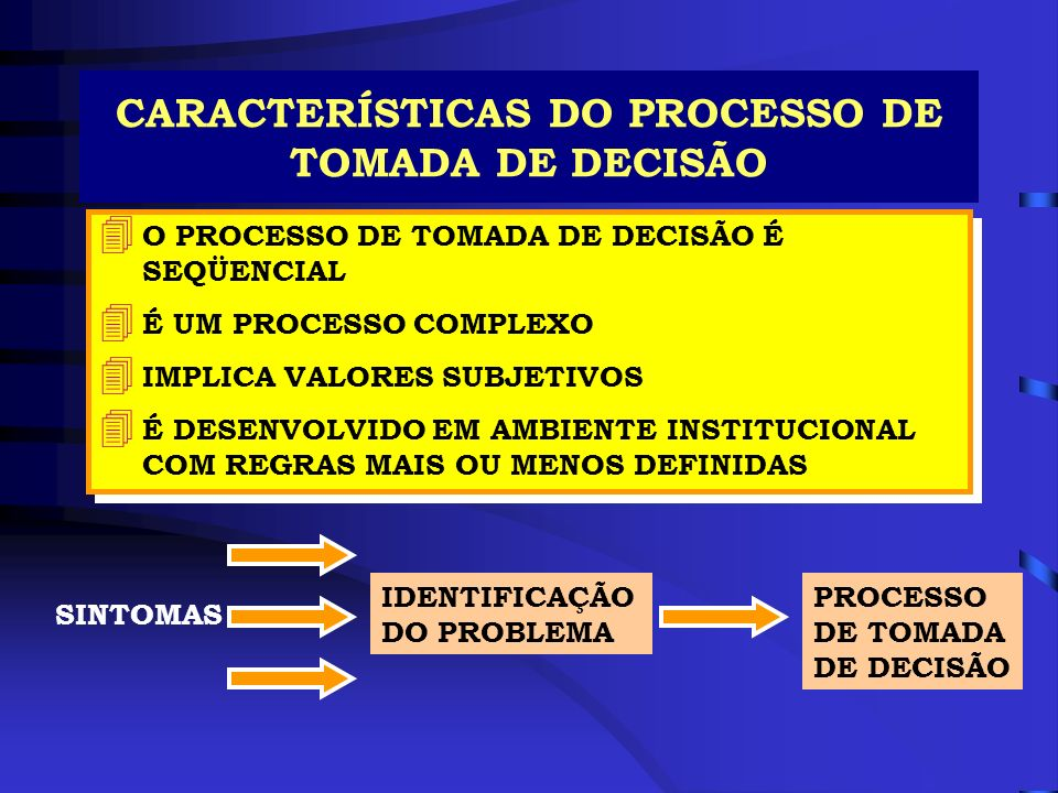 CARACTERÍSTICAS DO PROCESSO DE TOMADA DE DECISÃO 4 O PROCESSO DE TOMADA DE DECISÃO É SEQÜENCIAL 4 É UM PROCESSO COMPLEXO 4 IMPLICA VALORES SUBJETIVOS