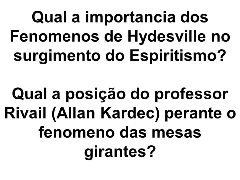 Qual a importancia dos Fenomenos de Hydesville no surgimento do Espiritismo? Qual a posição do professor Rivail (Allan Kardec) perante o fenomeno das