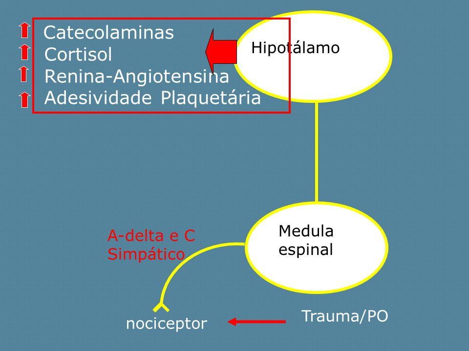 Trauma/PO A-delta e C Simpático Medula espinal Hipotálamo Catecolaminas Cortisol Renina-Angiotensina Adesividade Plaquetária nociceptor