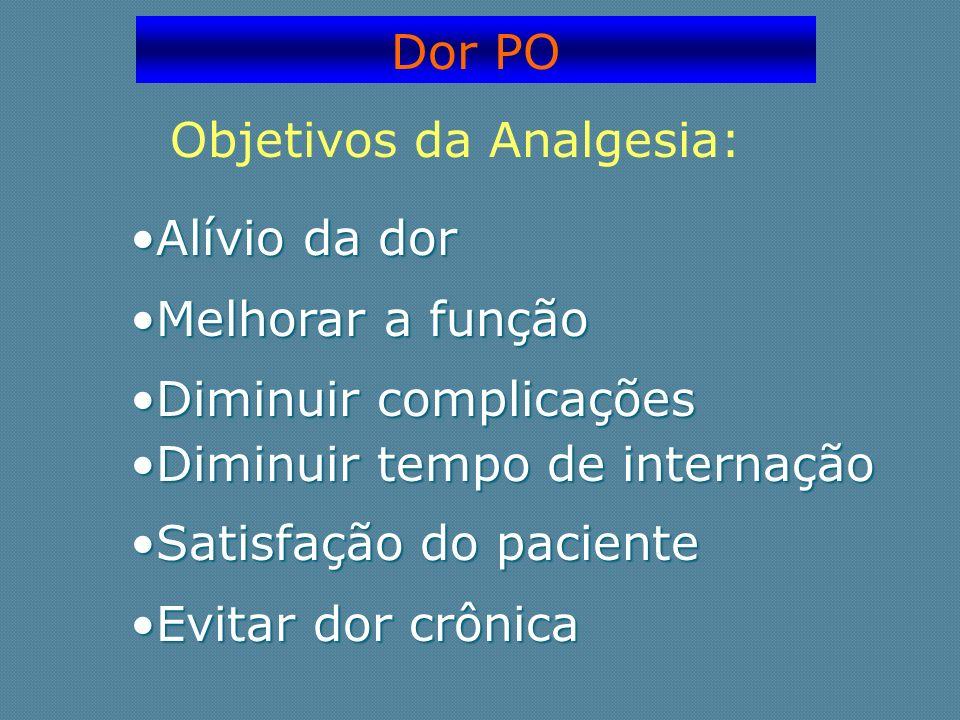 Dor PO Objetivos da Analgesia: Alívio da dorAlívio da dor Melhorar a funçãoMelhorar a função Diminuir complicaçõesDiminuir complicações Diminuir tempo