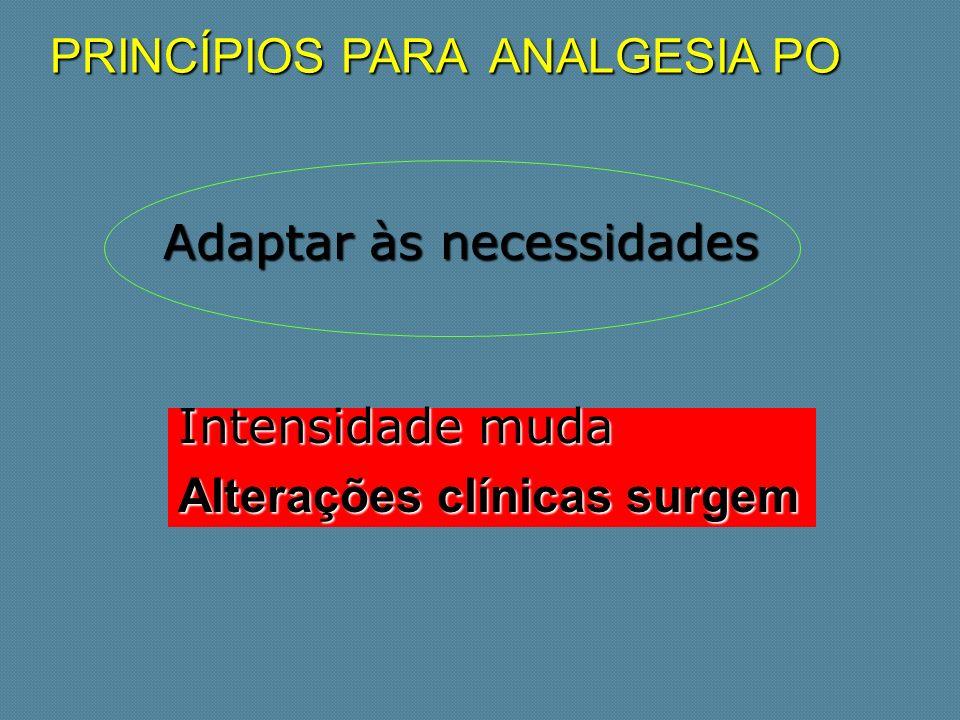 PRINCÍPIOS PARA ANALGESIA PO Adaptar às necessidades Adaptar às necessidades Intensidade muda Alterações clínicas surgem