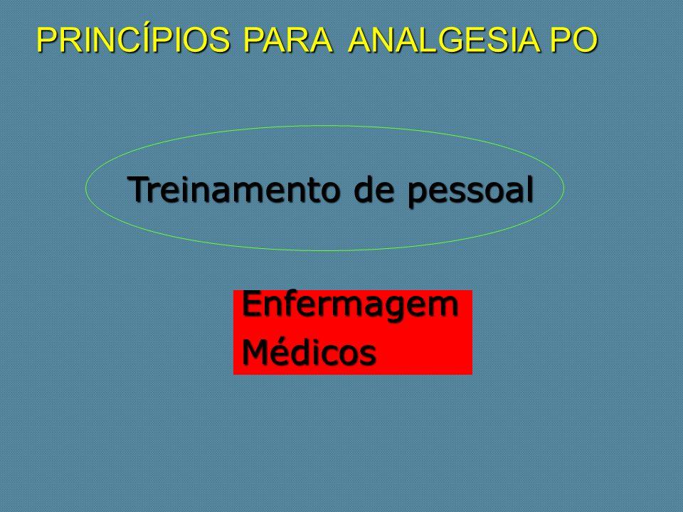 PRINCÍPIOS PARA ANALGESIA PO Treinamento de pessoal Treinamento de pessoal EnfermagemMédicos