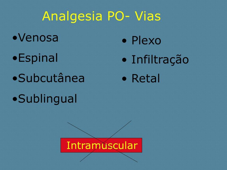 Analgesia PO- Vias Venosa Espinal Subcutânea Sublingual Plexo Infiltração Retal Intramuscular