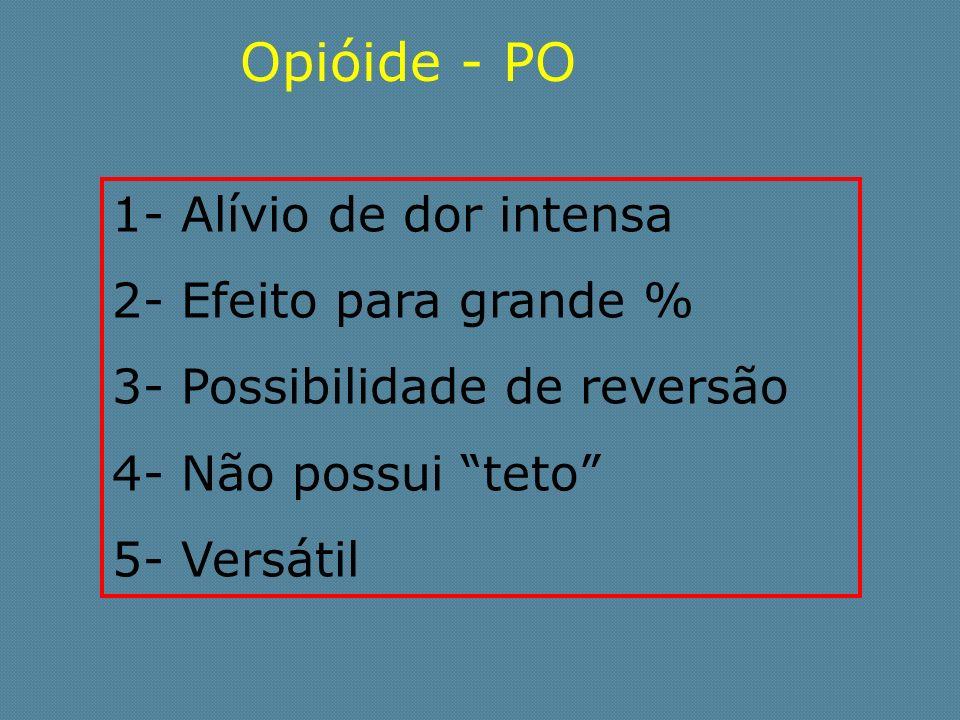 Opióide - PO 1- Alívio de dor intensa 2- Efeito para grande % 3- Possibilidade de reversão 4- Não possui teto 5- Versátil