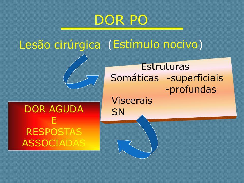 DOR PO Estruturas Somáticas -superficiais -profundas Viscerais SN (Estímulo nocivo) Lesão cirúrgica DOR AGUDA E RESPOSTAS ASSOCIADAS