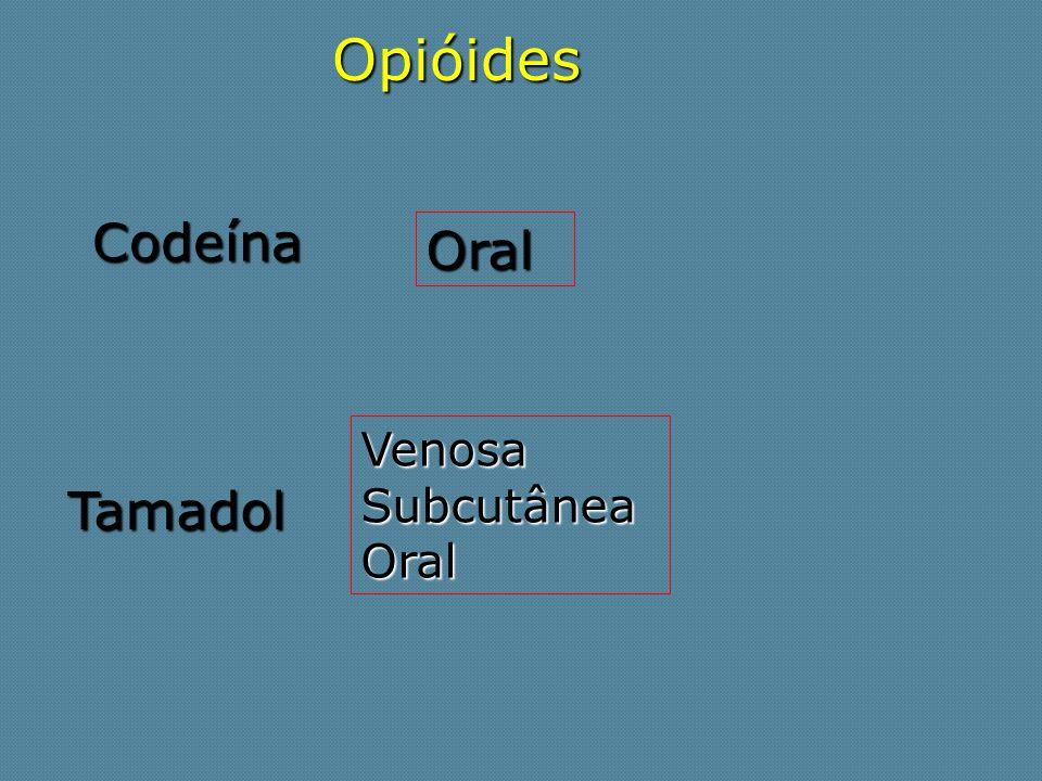 Opióides Codeína Oral Tamadol VenosaSubcutâneaOral