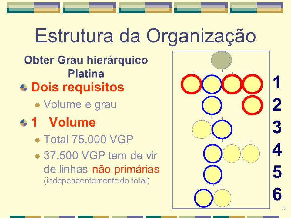 8 Estrutura da Organização Dois requisitos Volume e grau 1Volume Total 75.000 VGP 37.500 VGP tem de vir de linhas não primárias (independentemente do total) 123456123456 Obter Grau hierárquico Platina G G G