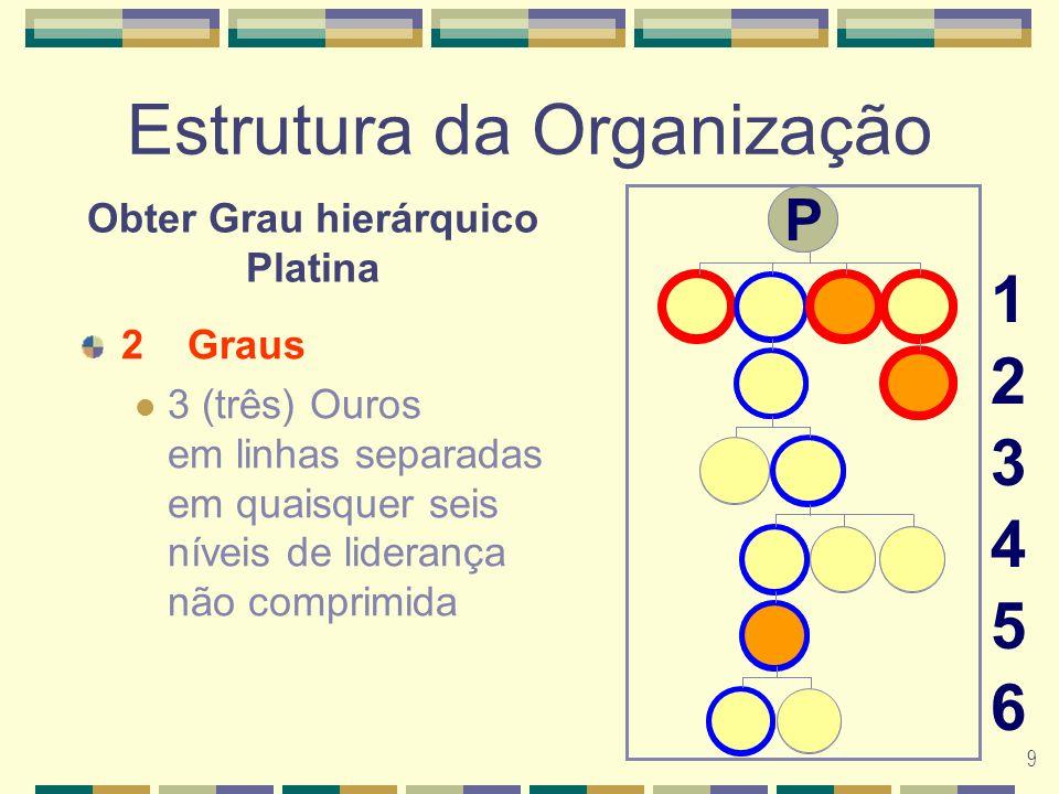9 Estrutura da Organização 2Graus 3 (três) Ouros em linhas separadas em quaisquer seis níveis de liderança não comprimida 123456123456 Obter Grau hierárquico Platina G G G G G G P