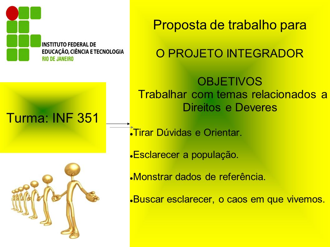 Turma: INF 351 Proposta de trabalho para O PROJETO INTEGRADOR OBJETIVOS Trabalhar com temas relacionados a Direitos e Deveres Tirar Dúvidas e Orientar