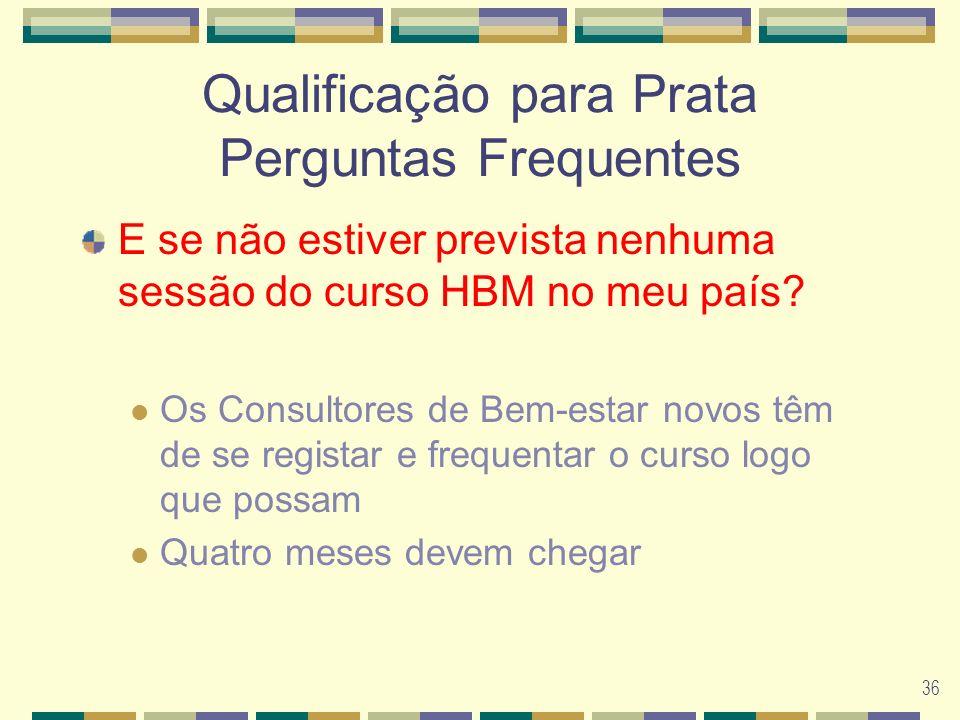 36 Qualificação para Prata Perguntas Frequentes E se não estiver prevista nenhuma sessão do curso HBM no meu país.