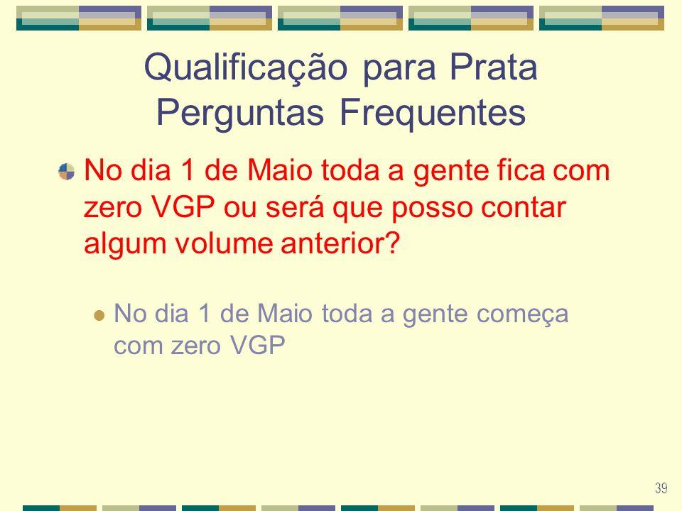 39 Qualificação para Prata Perguntas Frequentes No dia 1 de Maio toda a gente fica com zero VGP ou será que posso contar algum volume anterior.