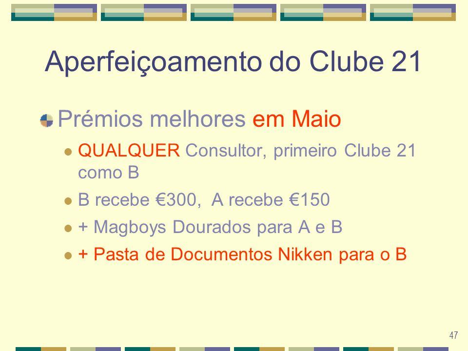 47 Aperfeiçoamento do Clube 21 Prémios melhores em Maio QUALQUER Consultor, primeiro Clube 21 como B B recebe 300, A recebe 150 + Magboys Dourados para A e B + Pasta de Documentos Nikken para o B