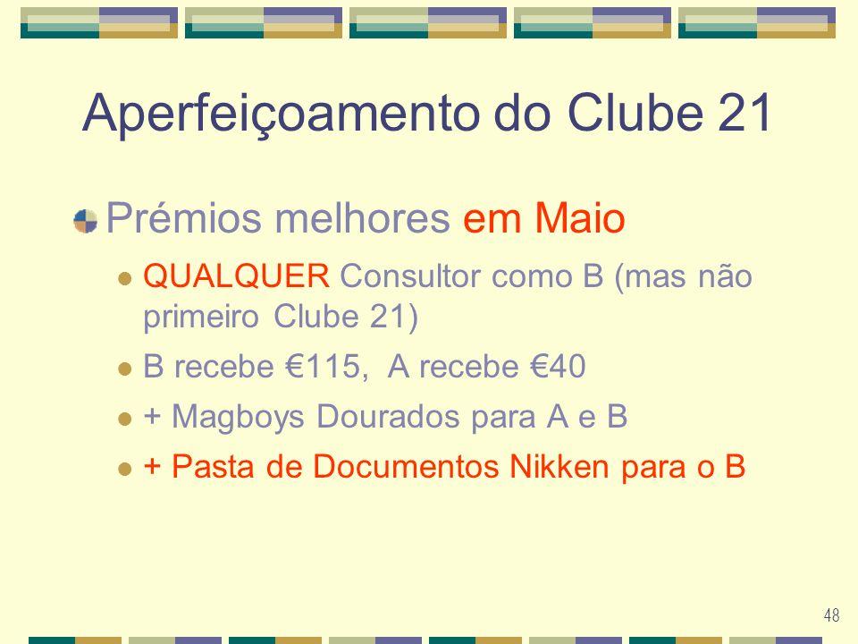 48 Aperfeiçoamento do Clube 21 Prémios melhores em Maio QUALQUER Consultor como B (mas não primeiro Clube 21) B recebe 115, A recebe 40 + Magboys Dourados para A e B + Pasta de Documentos Nikken para o B