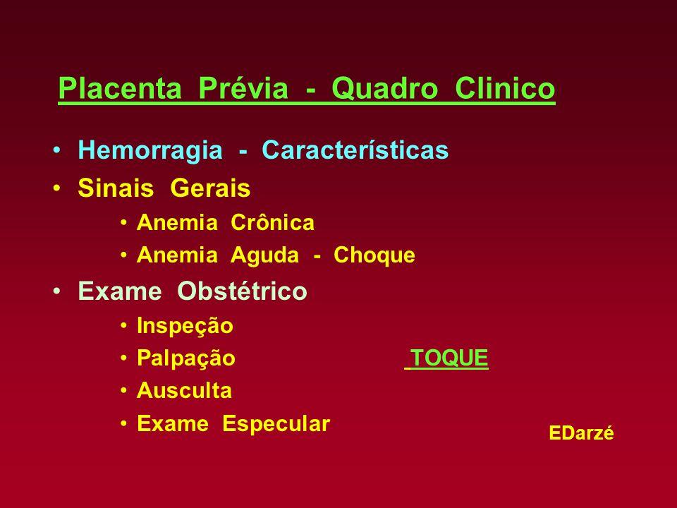 EDarzé Placenta Prévia - Quadro Clinico Hemorragia - Características Sinais Gerais Anemia Crônica Anemia Aguda - Choque Exame Obstétrico Inspeção Palp