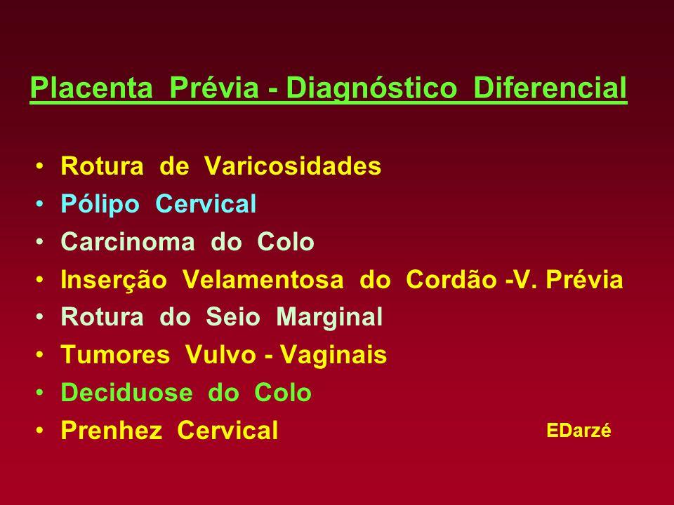 EDarzé Placenta Prévia - Diagnóstico Diferencial Rotura de Varicosidades Pólipo Cervical Carcinoma do Colo Inserção Velamentosa do Cordão -V. Prévia R