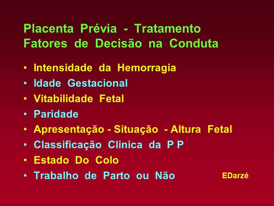 EDarzé Placenta Prévia - Tratamento Fatores de Decisão na Conduta Intensidade da Hemorragia Idade Gestacional Vitabilidade Fetal Paridade Apresentação