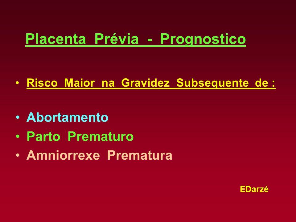 EDarzé Placenta Prévia - Prognostico Risco Maior na Gravidez Subsequente de : Abortamento Parto Prematuro Amniorrexe Prematura