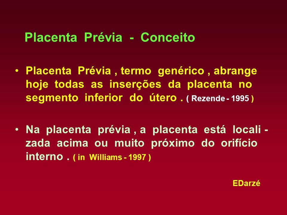 EDarzé Placenta Prévia - Conceito Placenta Prévia, termo genérico, abrange hoje todas as inserções da placenta no segmento inferior do útero. ( Rezend