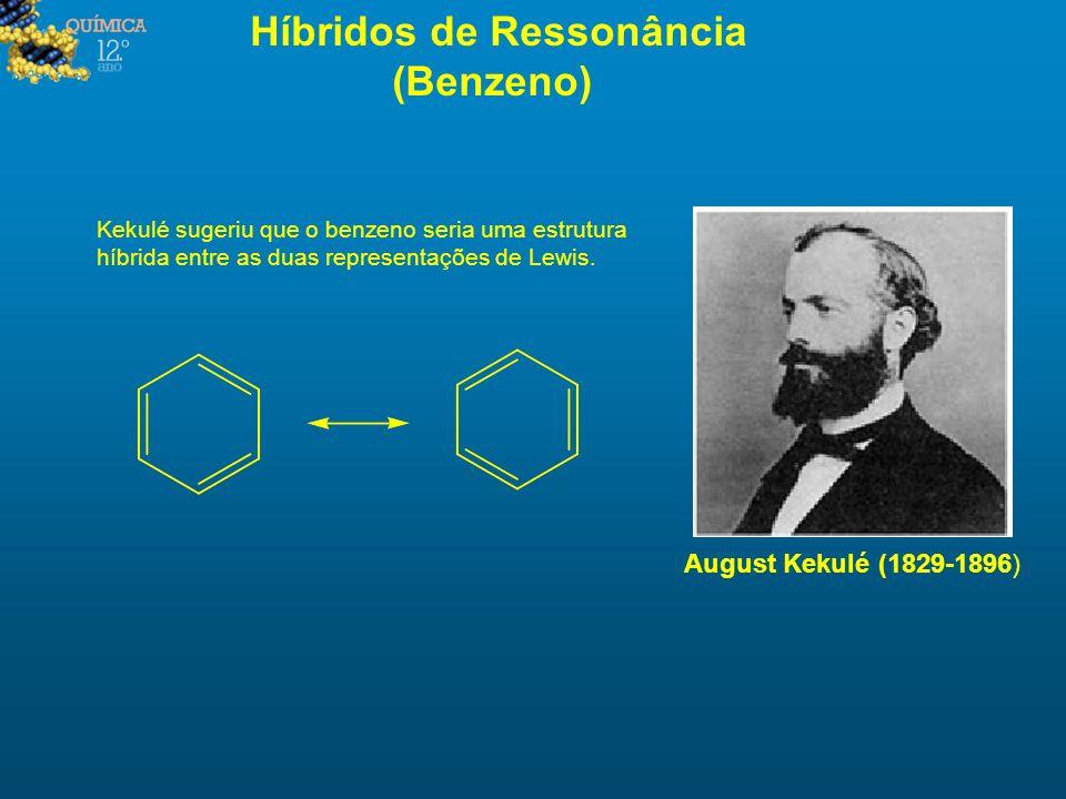 Híbridos de Ressonância (Benzeno) Kekulé sugeriu que o benzeno seria uma estrutura híbrida entre as duas representações de Lewis. August Kekulé (1829-