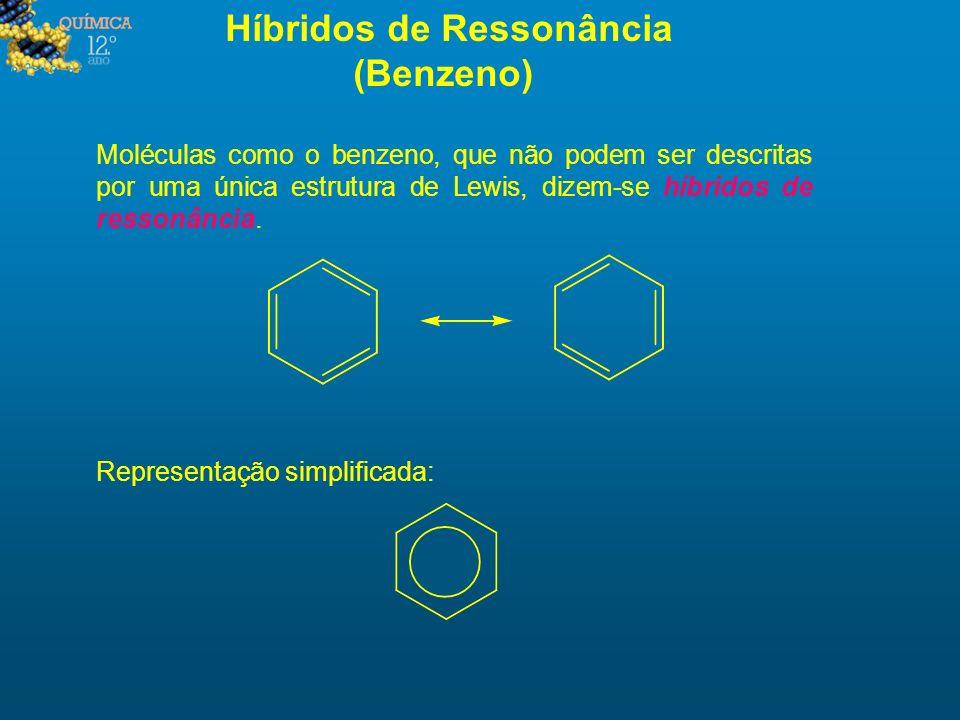 Híbridos de Ressonância (Benzeno) Moléculas como o benzeno, que não podem ser descritas por uma única estrutura de Lewis, dizem-se híbridos de ressonâ