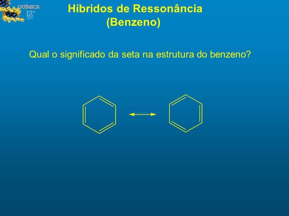 Híbridos de Ressonância (Benzeno) Qual o significado da seta na estrutura do benzeno?