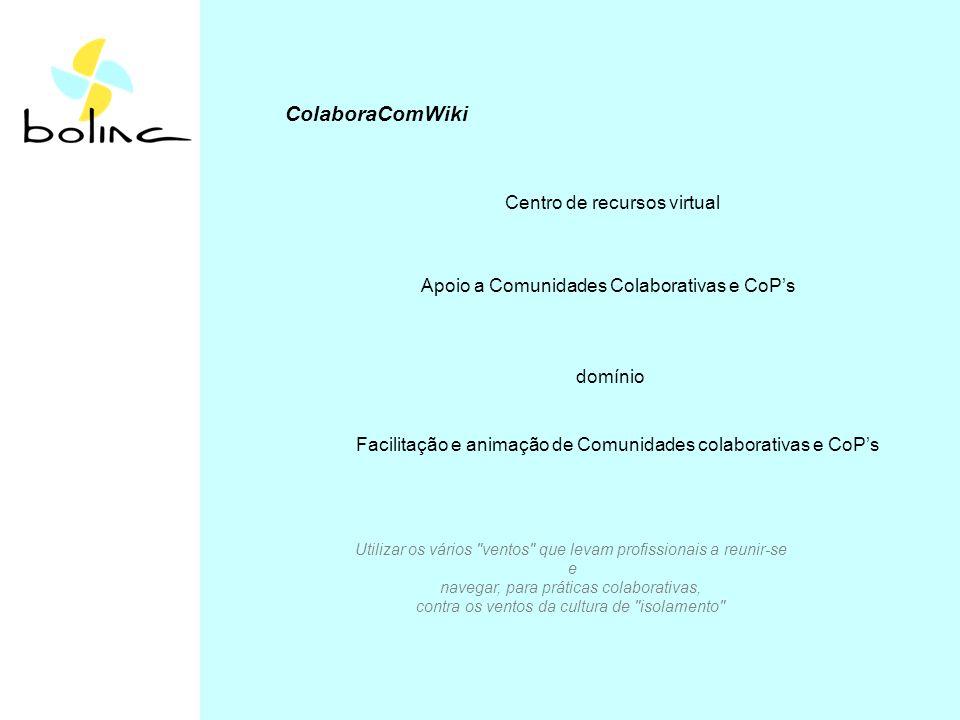 ColaboraComWiki Centro de recursos virtual Apoio a Comunidades Colaborativas e CoPs domínio Facilitação e animação de Comunidades colaborativas e CoPs Utilizar os vários ventos que levam profissionais a reunir-se e navegar, para práticas colaborativas, contra os ventos da cultura de isolamento
