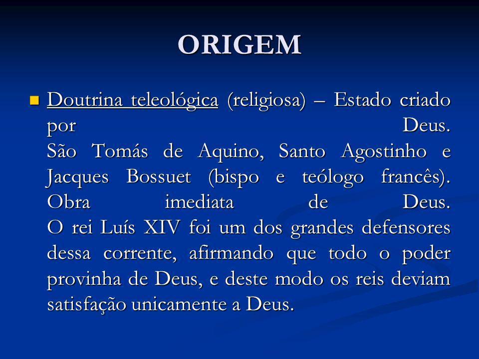 ORIGEM Doutrina teleológica (religiosa) – Estado criado por Deus. São Tomás de Aquino, Santo Agostinho e Jacques Bossuet (bispo e teólogo francês). Ob
