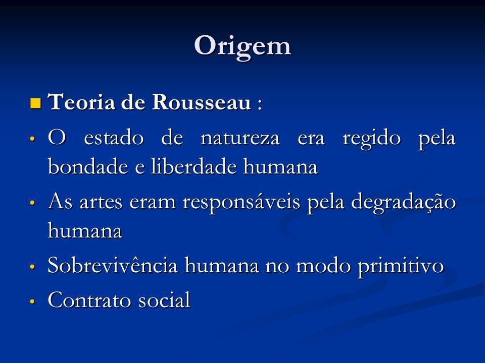Origem Teoria de Rousseau : Teoria de Rousseau : O estado de natureza era regido pela bondade e liberdade humana O estado de natureza era regido pela