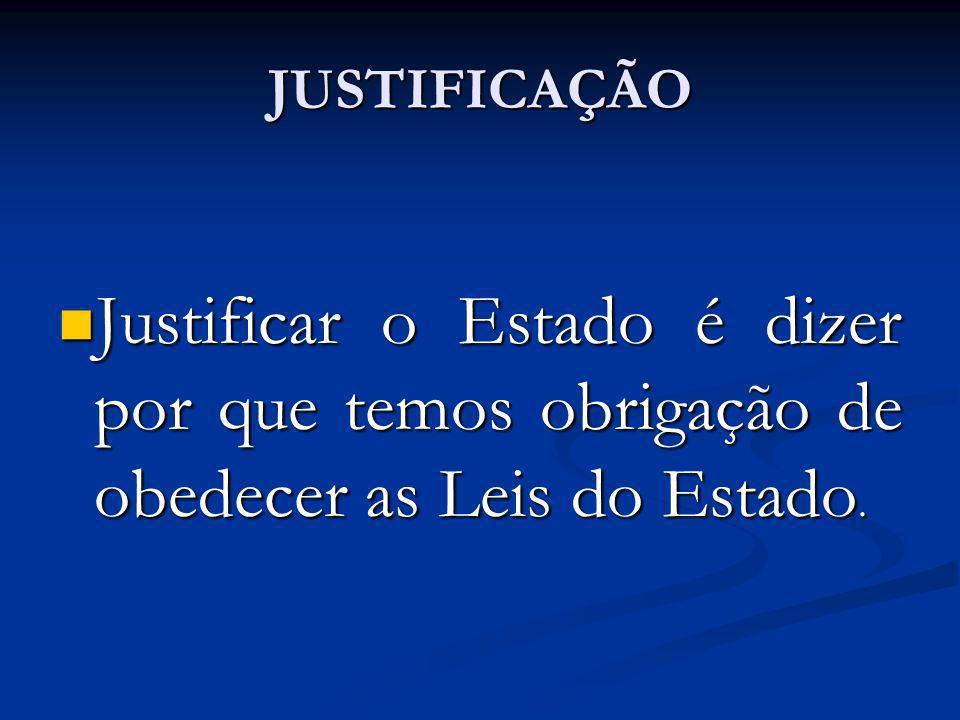 JUSTIFICAÇÃO Justificar o Estado é dizer por que temos obrigação de obedecer as Leis do Estado. Justificar o Estado é dizer por que temos obrigação de