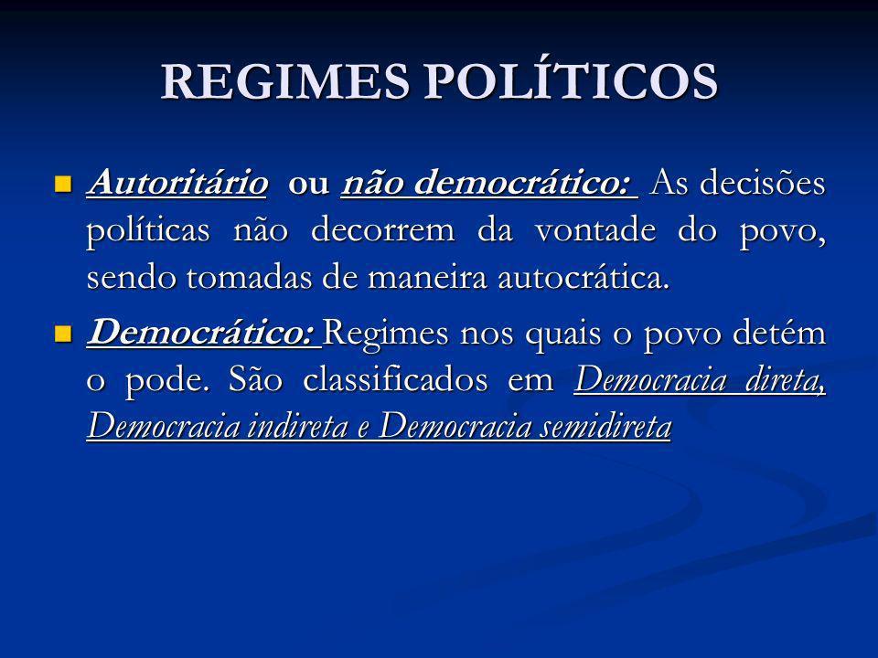 REGIMES POLÍTICOS Autoritário ou não democrático: As decisões políticas não decorrem da vontade do povo, sendo tomadas de maneira autocrática. Autorit
