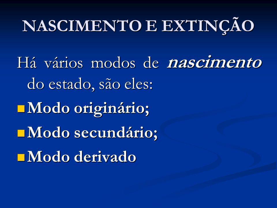 NASCIMENTO E EXTINÇÃO Há vários modos de nascimento do estado, são eles: Modo originário; Modo originário; Modo secundário; Modo secundário; Modo deri