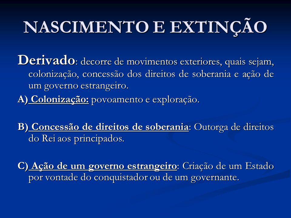 NASCIMENTO E EXTINÇÃO Derivado : decorre de movimentos exteriores, quais sejam, colonização, concessão dos direitos de soberania e ação de um governo