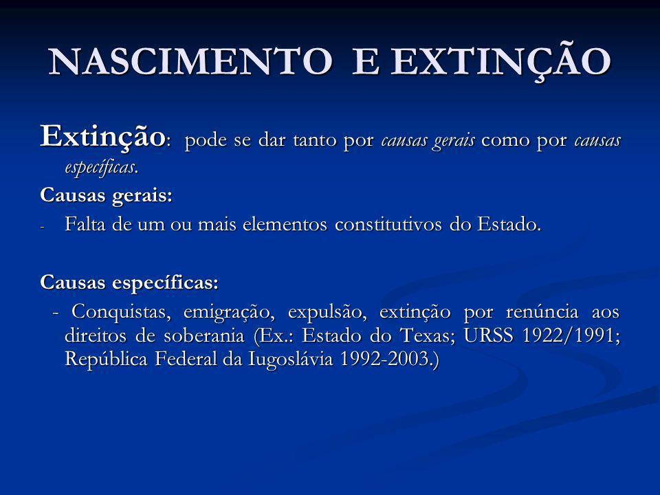 NASCIMENTO E EXTINÇÃO Extinção : pode se dar tanto por causas gerais como por causas específicas. Causas gerais: - Falta de um ou mais elementos const