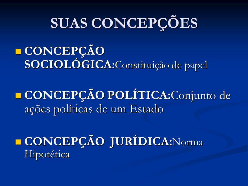 SUAS CONCEPÇÕES CONCEPÇÃO SOCIOLÓGICA: Constituição de papel CONCEPÇÃO SOCIOLÓGICA: Constituição de papel CONCEPÇÃO POLÍTICA:Conjunto de ações polític