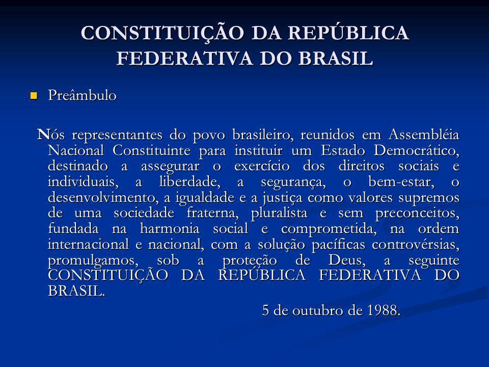 CONSTITUIÇÃO DA REPÚBLICA FEDERATIVA DO BRASIL Preâmbulo Preâmbulo Nós representantes do povo brasileiro, reunidos em Assembléia Nacional Constituinte