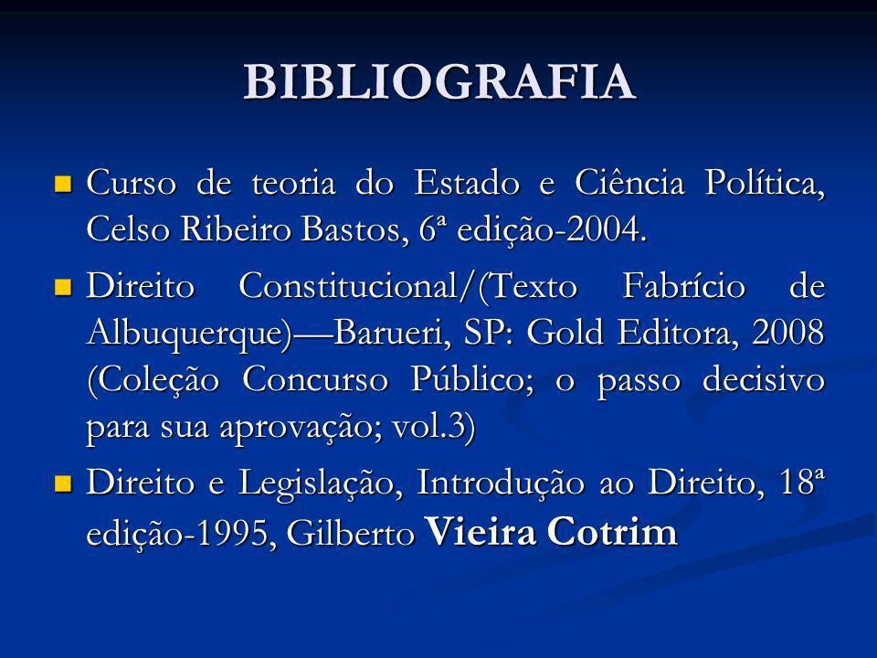 BIBLIOGRAFIA Curso de teoria do Estado e Ciência Política, Celso Ribeiro Bastos, 6ª edição-2004. Curso de teoria do Estado e Ciência Política, Celso R